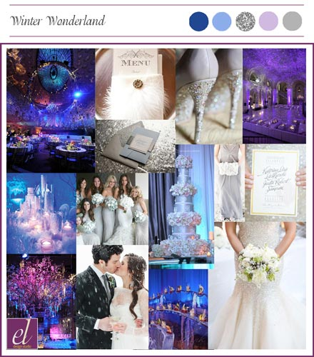 Color board for a winter wonderland wedding | Events Luxe Weddings