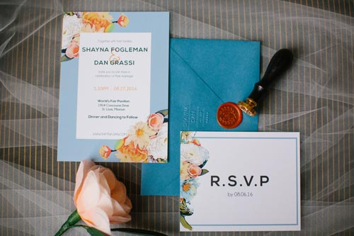 Orange and blue wedding invitations | Events Luxe Weddings
