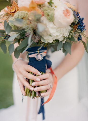 orange and blue bridal bouquet | Events Luxe Weddings