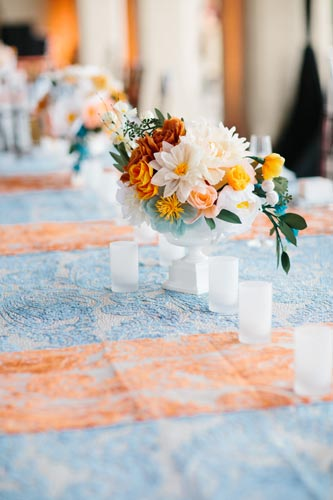 orange and blue flowers | events luxe weddings