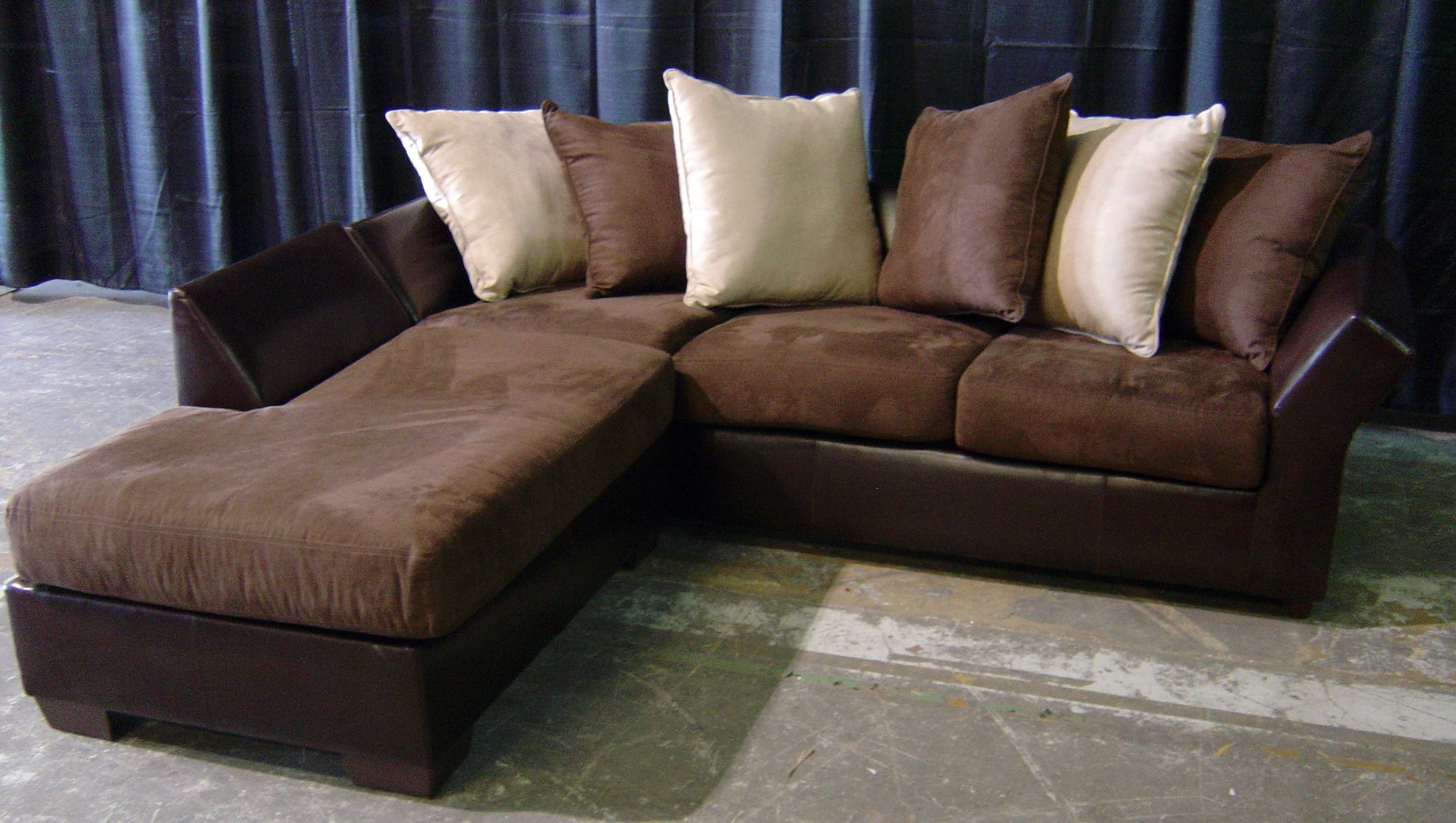 Brown Leather And Suede Sofa With Chaise Event Companies