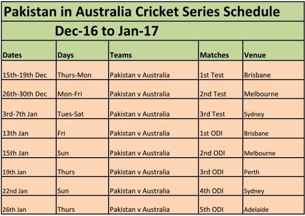 pakistan cricket schedule
