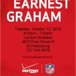 Autograph from Earnest Graham (tags: Verizon #FloridaGators, #VZW, 727-544-4676)