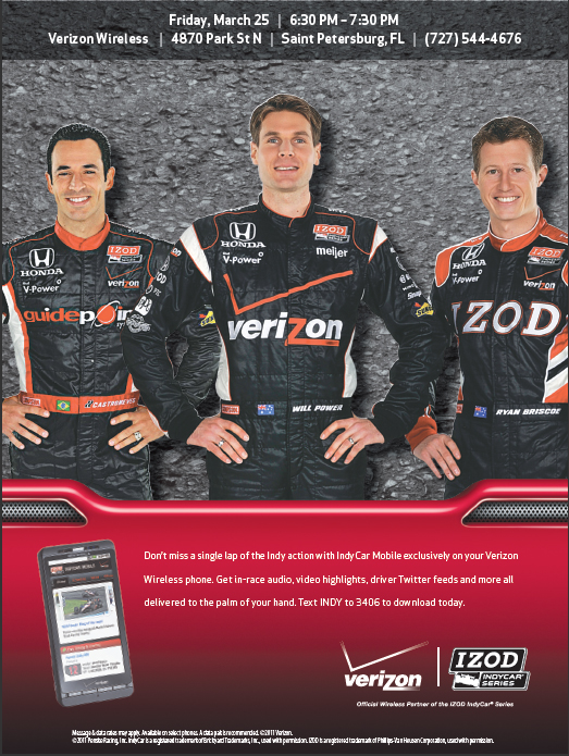 WIN Indy Tickets - Verizon 4870 Park St N (727) 544-4676 9 (tags: Indy, Penske, @MobilityCast)