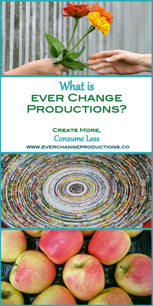 Welcome to Ever Change Productions- Consume less, create more. This blog is all about consuming less, so we can create more and give back to others. This blog has three major topics focused living, frugal living and eco-friendly living.