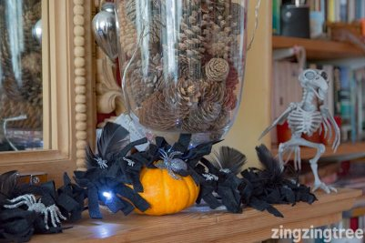 Simple Feather and Felt Garland Wicked Awesome Upcycled Halloween Decorations
