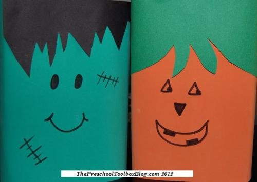 Frankenstein and Jack-o-Lantern Cereal Boxes Wicked Awesome Upcycled Halloween Decorations