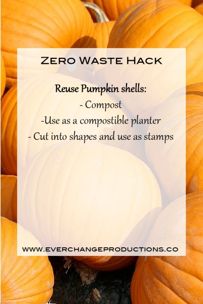 Zero Waste Hack: Reuse Pumpkin Shell: Compost, use as compostible planter, cut into shapes for stamps.