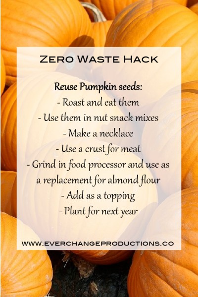 Zero Waste Hack: Reuse Pumpkin seeds: - Roast and eat them - Use them in nut snack mixes - Make a necklace - Use a crust for meat - Grind and use as a replacement for almond flour - Add as a topping - Plant for next year