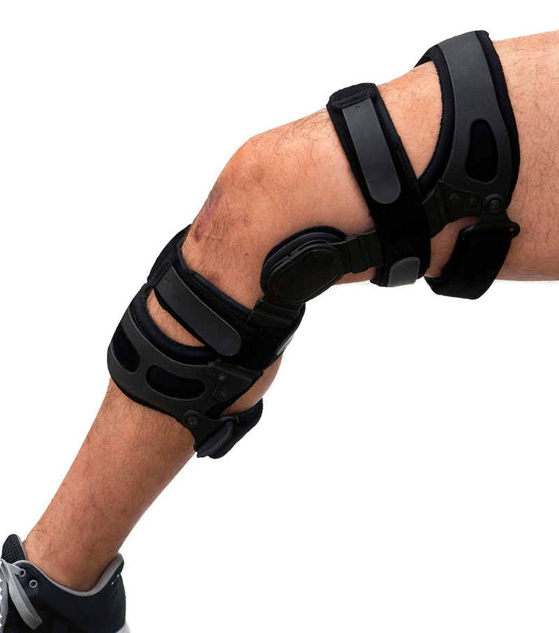 Knee brace for ACL football knee injury.