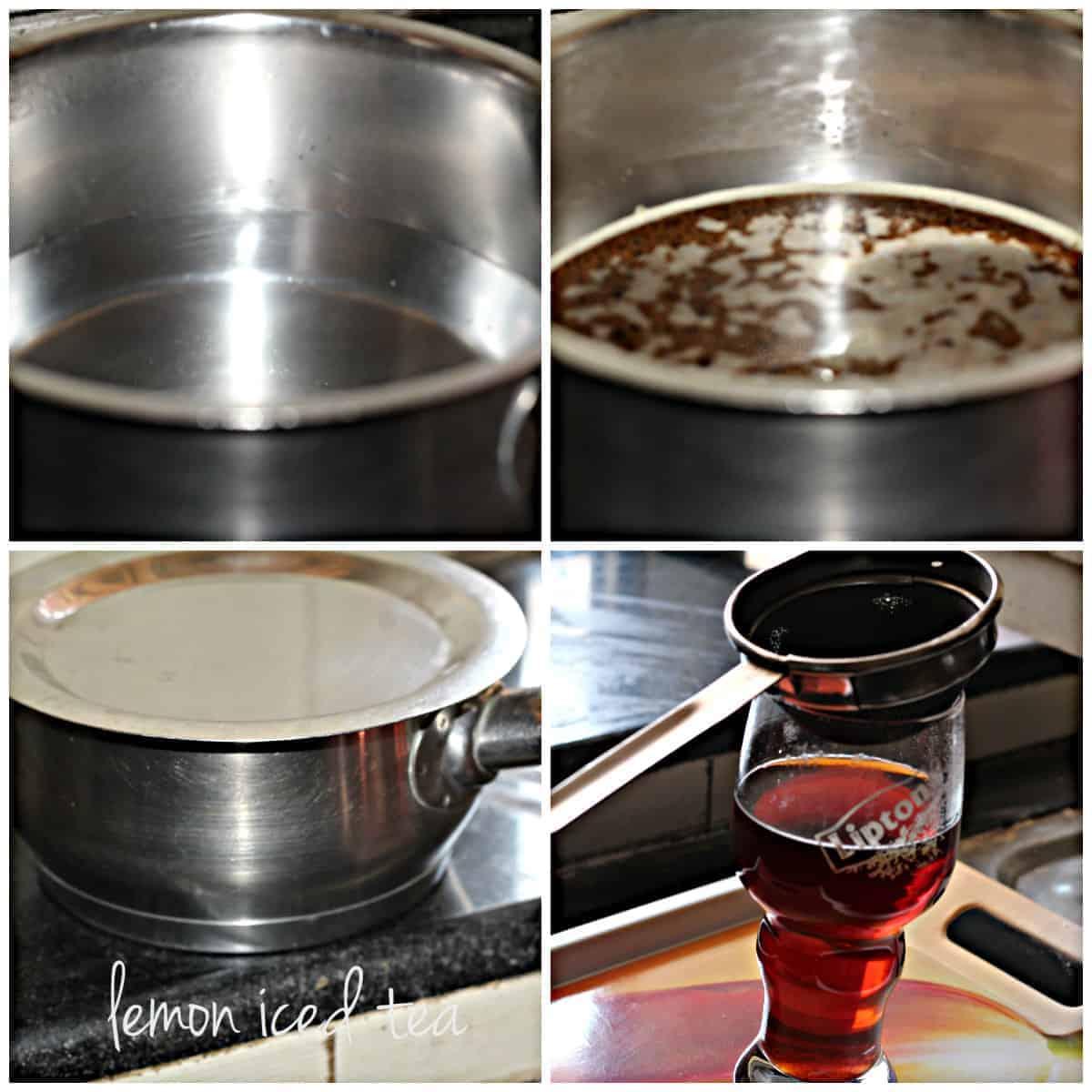 making of lemon iced tea