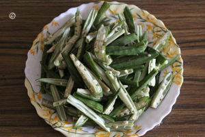 bhindi pieces
