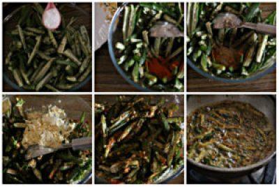 making of kurkuri bhindi in steps