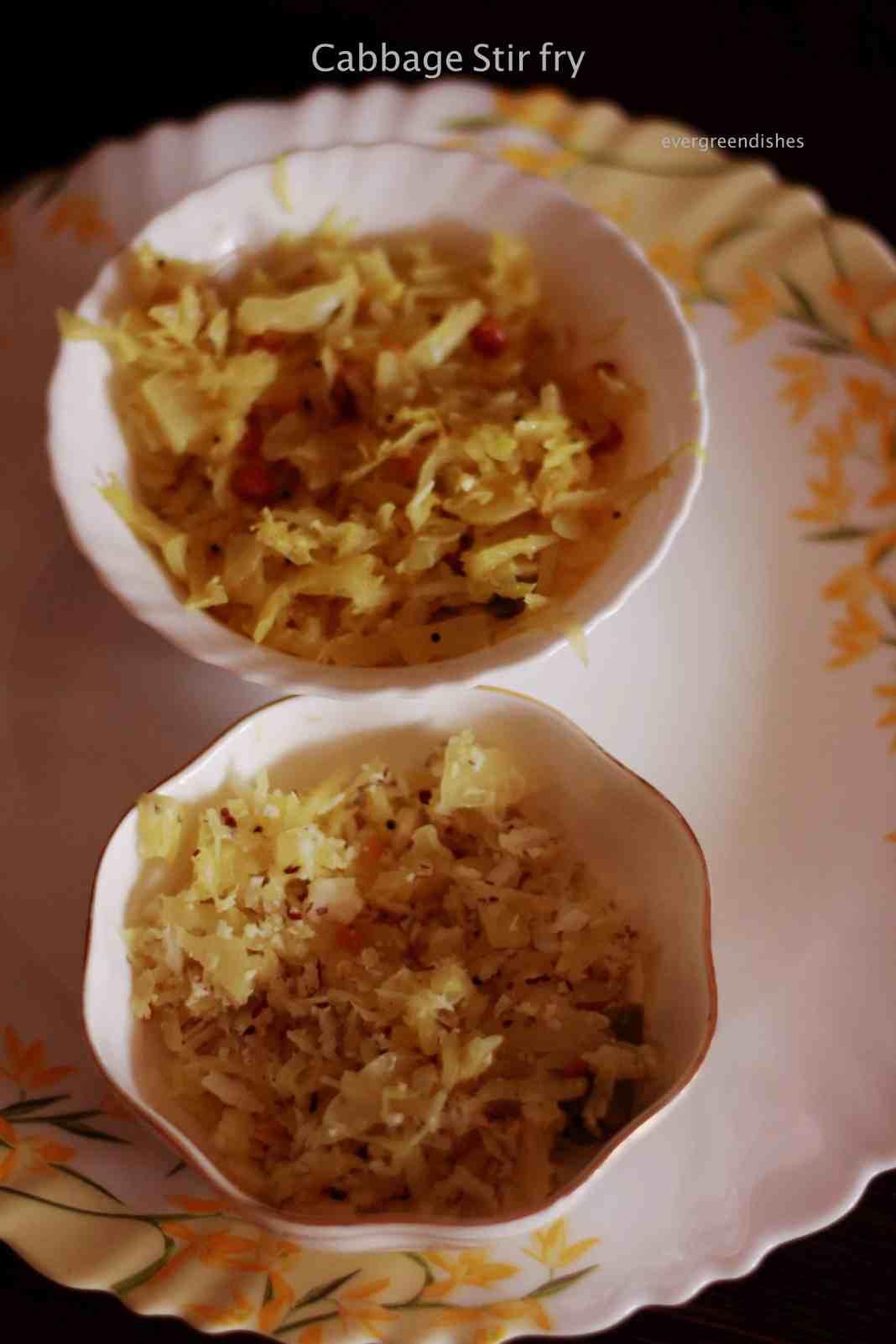 cabbage stir fry | thoran | palya