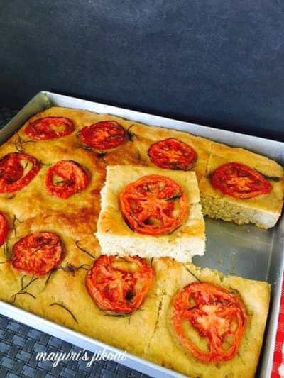 tomato and garlic focaccia guest post series