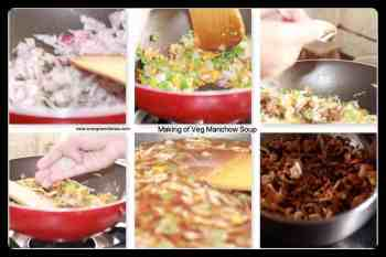 making of veg manchow soup