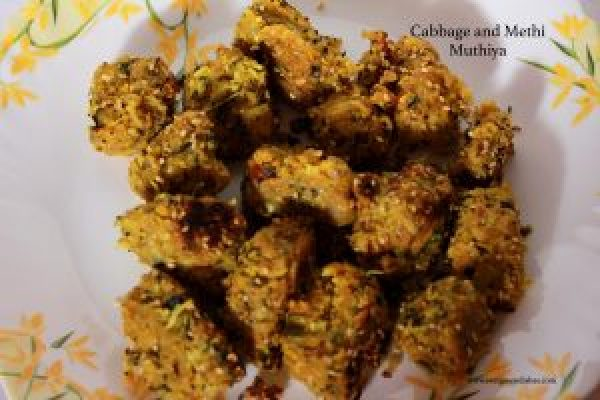cabbage and methi muthiya
