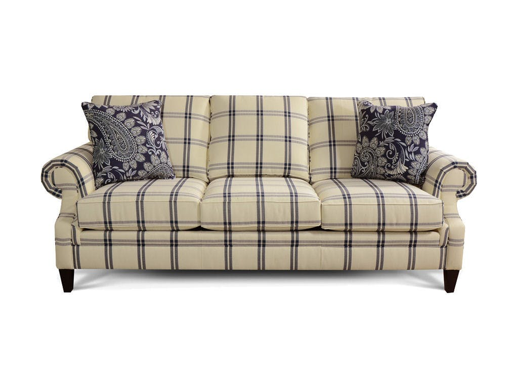 Seals 3×25 Blue and Cream Plaid Sofa – Evergreen Furniture