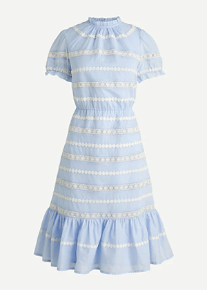 blue daisy chain blue dress white flowers brookie jcrew