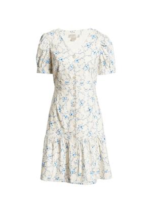cream blue floral linen button dress rachel parcell nordstrom brookie