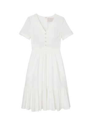 gal meets glam angela white linen button shirt dress brookie