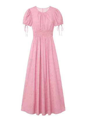 giselle maxi dress puff sleeve gal meets glam floral pink brookie