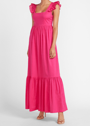 hot pink flutter sleeve maxi dress cotton brookie express