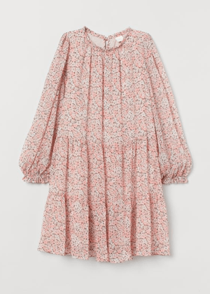 pink floral balloon sleeve dress h&m brookie