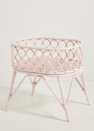 pink rattan doll bassinet ayla home decor toy anthropologie