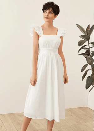 shein brookie white bow back linen midi dress