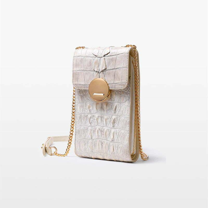 Genuine Pearl Crocodile Skin Wallet on Chain