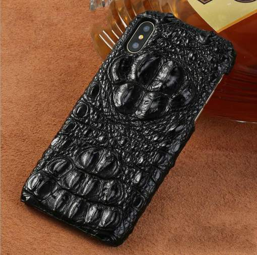 Genuine Alligator Croc Skin iPhone XS Max – Skull Hornback Leather