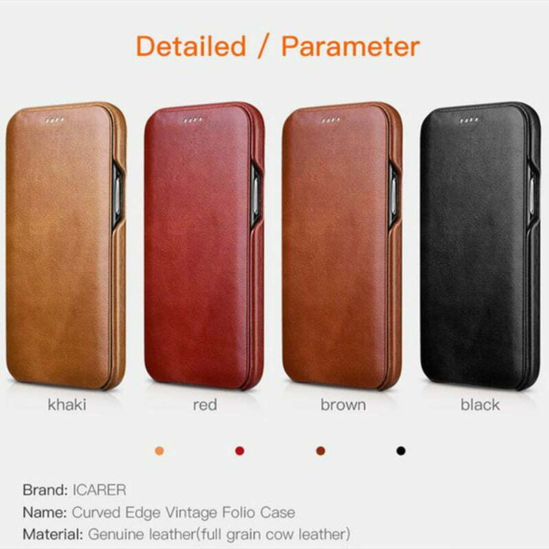 ICARER Case Cowhide Leather Wallet Flip Cover Case For iPhone 11 12 Pro Max Mini