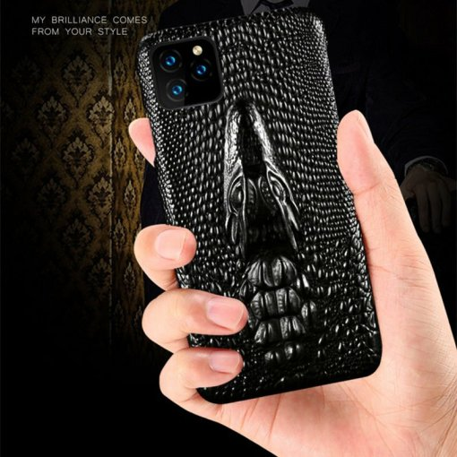 Embossed Crocodile Genuine Leather iPhone Case