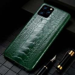 Genuine Ostrich Leg Leather iPhone 12 Pro Max Case