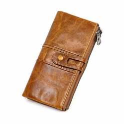 Cowhide Women Wallet Money Clip Purse Brown