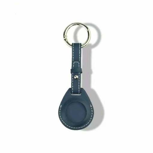 Leather Airtag Key Ring Blue
