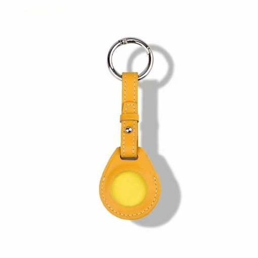 Leather Airtag Key Ring Yellow