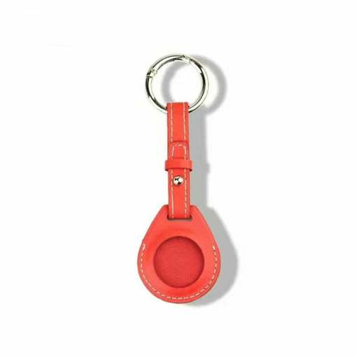 Leather Airtag Key Ring Red