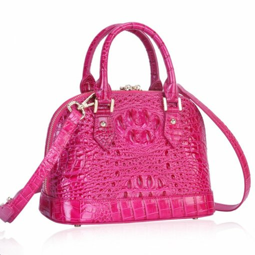 Women's Crocodile Bone Texture Leather Luggage Tote Bag Rose Red