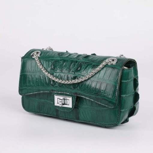 Genuine Crocodile Shoulder Bag Evening Crocodile Purse Dark Green