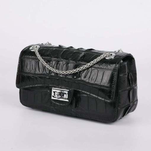 Genuine Crocodile Shoulder Bag Evening Crocodile Purse Black