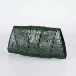 Crocodile Leather Banquet Purse Evening Handbag Dark Green