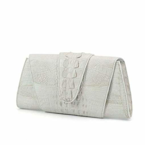 Crocodile Leather Banquet Purse Wallet Evening Handbag White