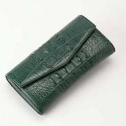 Womens Evening Crocodile Purse Wallet Clutch Bag Dark Green