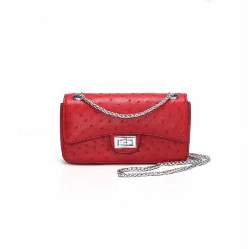 Women's Ostrich Handbag Shoulder Bag Tote Purse Red