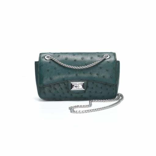 Women's Ostrich Handbag Shoulder Bag Tote Purse Dark Green