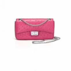 Women's Ostrich Handbag Shoulder Bag Tote Purse Rose Red