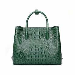 Womens Crocodile Skin Hornback Handbag Tote Zippers Bag Dark Green