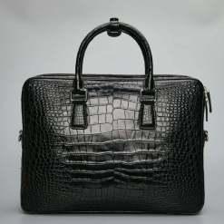 Mens Crocodile Skin Leather Briefcase